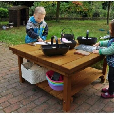 Large Square Table Workstation,Outdoor Messy Play Station,Nature Outdoor Play Table,Outdoor tuff tray table,,outdoor wooden play table play set, outdoor play equipment nurseries schools nursery