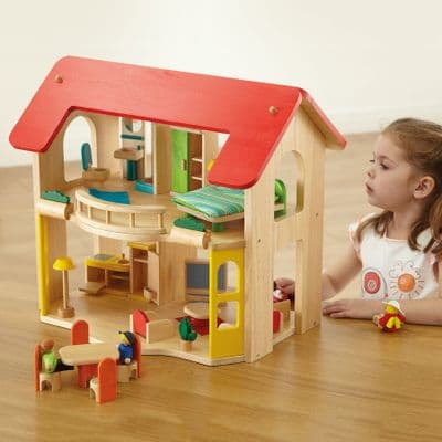 Large Wooden Home with Furniture Set,multi level wooden dolls house and accessories,miniature world - dolls houses,imaginative play,early years resources, educational resources, educational materials, children learning resources, children learning materials, teaching resources for children, teaching material for children