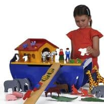 Large Wooden Noahs Ark Play Set with 50 Animals