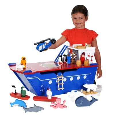 Large Wooden Polar Explorer Play Set,Wooden Polar Explorer Set,Wooden toys,wooden boat toy