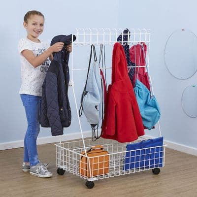 Mobile Cloakroom Children Dressing Up Trolley,Dressing up trolley,cloakroom trolley,mobile cloakroom trolley,dressing up storage trolley,coat storage trolley