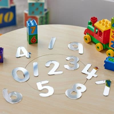 Number Mirror set Pack of 14,Mirror Numbers Small 70mm Set of 14,Mirror numbers,counting resources,sensory mirrors