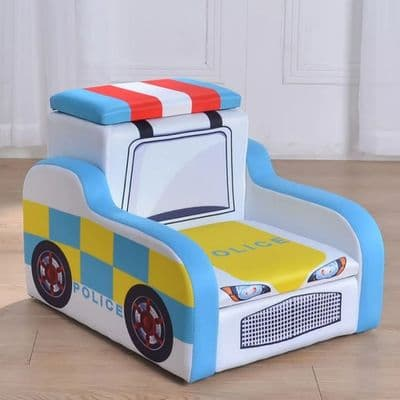 Police Themed Storage Chair,Children's sofa,Primary School Furniture for indoor and outdoor environments. School Tables, School Chairs, Storage and Play areas for classrooms and nursery settings