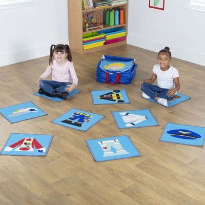Professions Mini Placement Carpets with holdall,nursery floor cushions,classroom floor cushions
