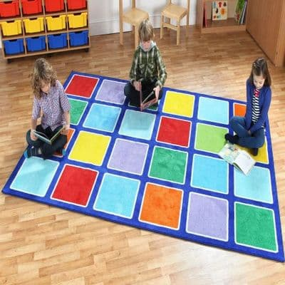 Rainbow Rectangle Placement Carpet,school carpets,school mats and rugs,kit4kids carpet,school furniture