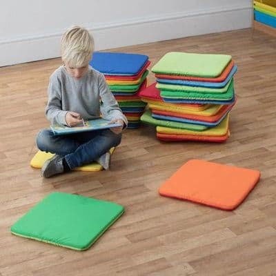 Rainbow Square Cushions Set of 32,school furnishings,school furniture,outdoor school seating,outdoor group work cushions,cushions for children,classroom cushions for children