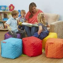 Small Quilted Bean Bag Cubes Set of 6