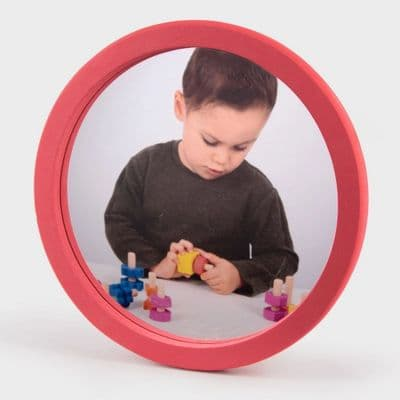 Softie Round Wall Mirror,sensory mirror,special needs mirror,asd speech mirror,special needs speech mirror, safe, foam mirrors, acrylic, shapes, colourful, primary colours, aesthetically pleasing, hand held, transportable, mirror pack, mirror set