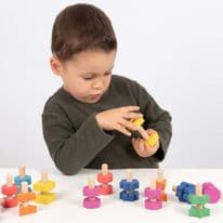 TickIt Rainbow Wooden Nuts & Bolts- Pk21