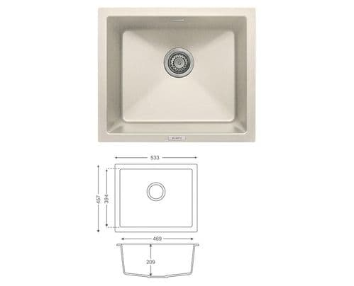 River Range - Ouse - Champagne Undermount  Sink - Single Bowl - Granite  533 x 457mm