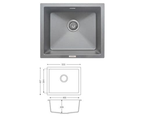 River Range - Ouse - Graphite Grey  Undermount  Sink - Single Bowl - Granite 533 x 457mm