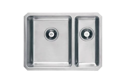 River range - Brett Brushed Steel  undermount Sink -  One and a half bowl 600mm x 450mm