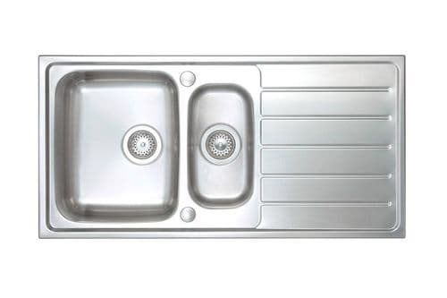 River range - Clun Brushed Steel Sink -  One and half bowl 1000mm x 500mm