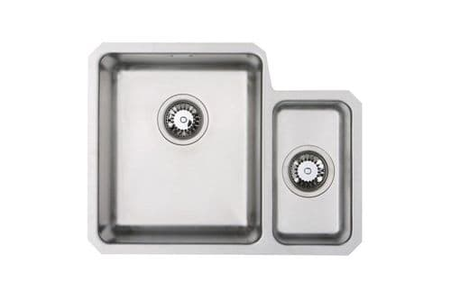 River range - Colne Brushed Steel  undermount Sink -  One and a half bowl 580mm x 450mm