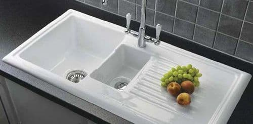 River range - Dovey - Ceramic White Sink One and a Half bowl with Mixer Tap 1015 x 525mm