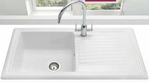 River range - Liffey - Ceramic White Sink One bowl with Mixer Tap 1015 x 525mm