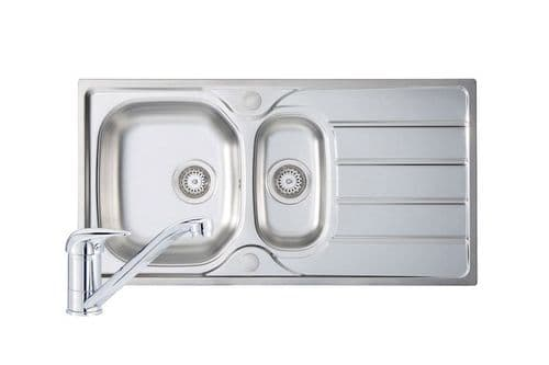 River Range - Mersey Polished Steel Sink and Tap Pack  965mm x 500mm