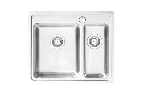 River range - Mite Brushed Steel Sink -  One and half bowl  625mm x 520mm