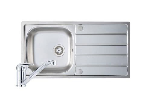 River range - Polished Steel  Humber  Sink and Tap Pack 965mm x 500mm