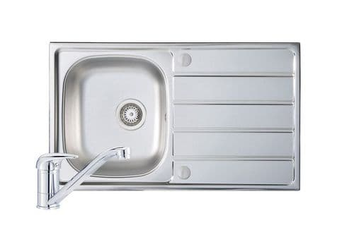 River Range Polished Steel - Stour Sink and Tap Pack Overall Size: 860mm x 500mm