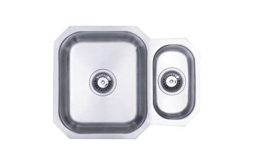 River range - Trent Brushed Steel  undermount Sink -  One and a half bowl 594mm x 460mm