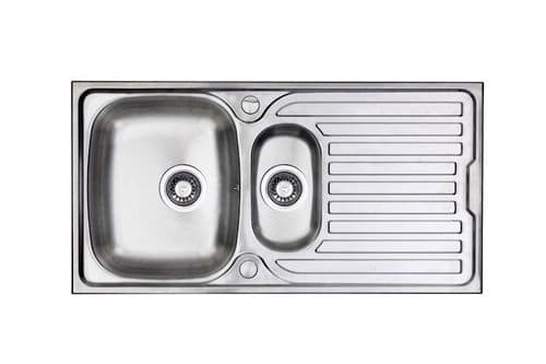 River range - Wye Brushed Steel Sink -  One and half bowl 965mm x 500mm