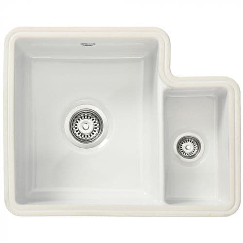 Tuscan Poppi Polar White Undermount Sink - One and a Half  Bowl - Cermic - TS121 RH  Small Bowl