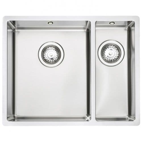 Tuscan Sovana  Sink - Brushed Steel - One and a Half Bowl Inset/Undermount Sink - TS110 RH Half Bowl